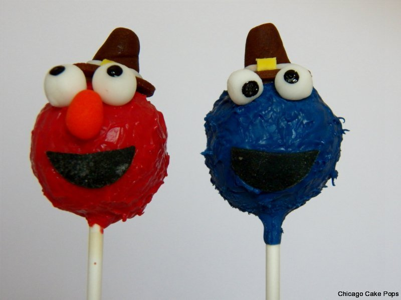 Elmo and Cookie monster cake pops